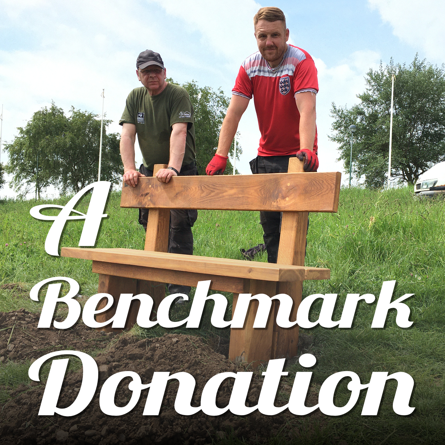 Dontation pays for a new bench. A volunteer and member of staff stand behind a new oak bench they've just installed on our Portrack Marsh Nature Reserve. It was made by staff and volunteers at Tees Valley Wildlife Trust and paid for by Good Nature News Teesside and North Yorkshire. Text reads 'A Benchmark Donation'.