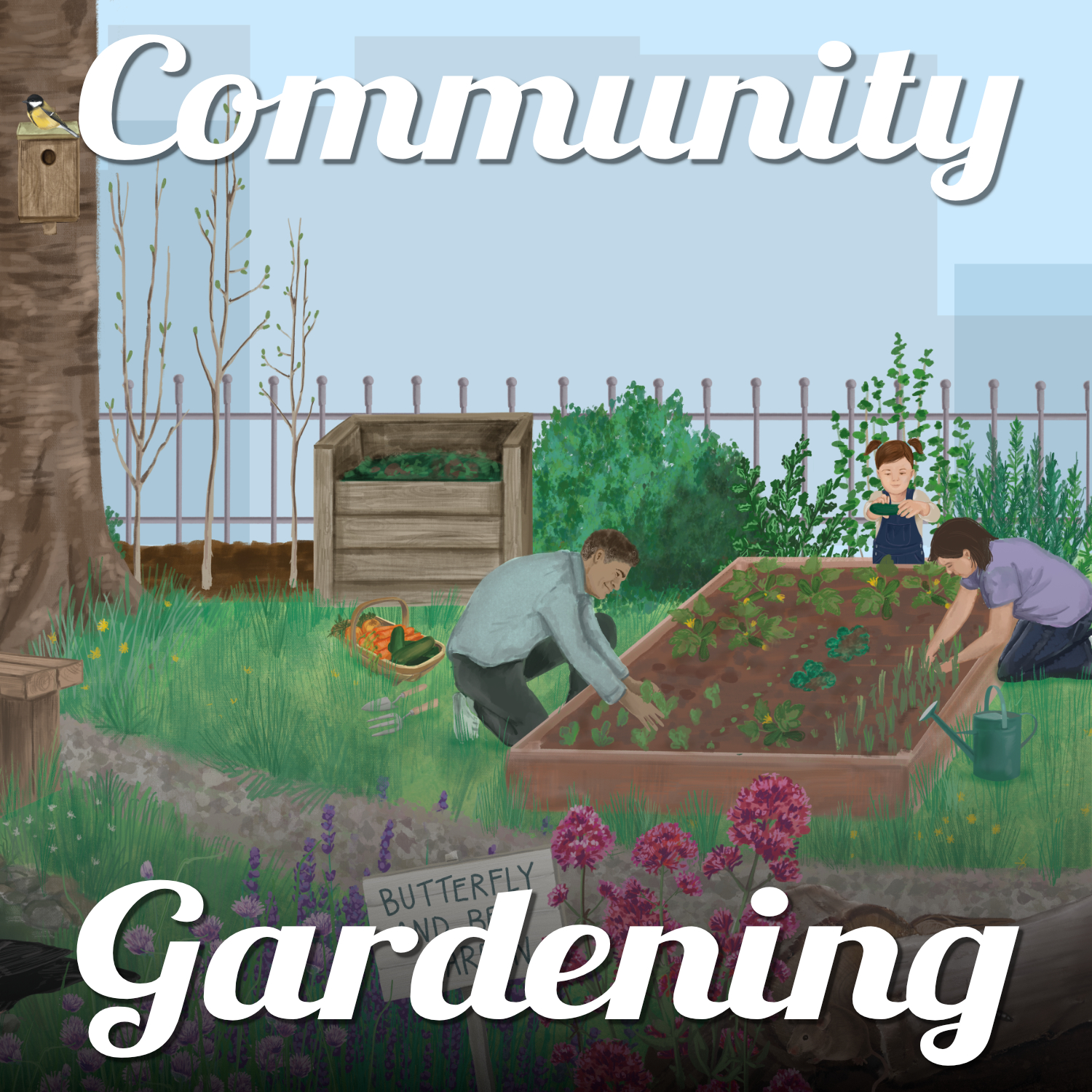 An illustration of a family planting up a raised bed in their garden and nature all around. Text reads 'Community Gardening'.