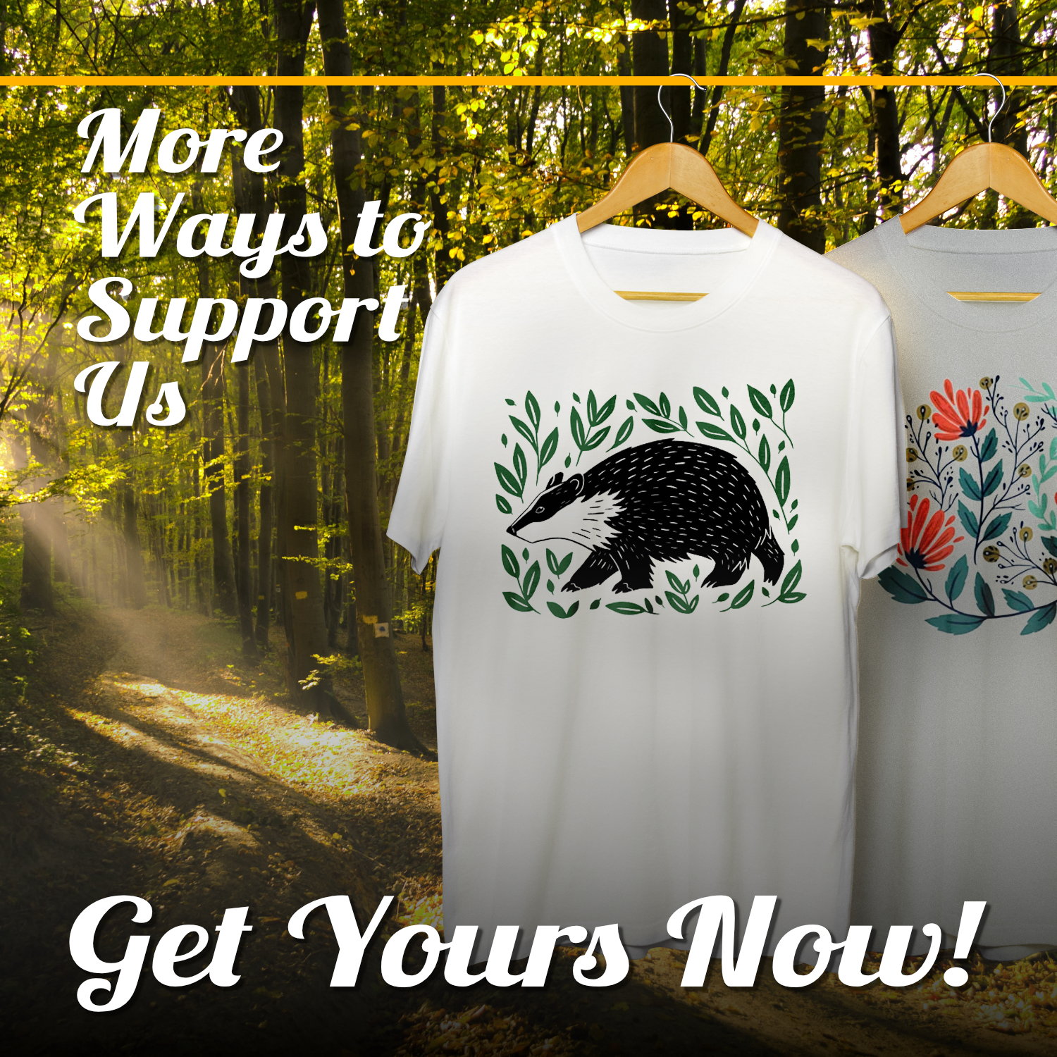 Advert for our Teemill shop with image of t-shirts on a woodland backdrop. Text reads 'More Ways to Support Us' and 'Get Yours Now!'