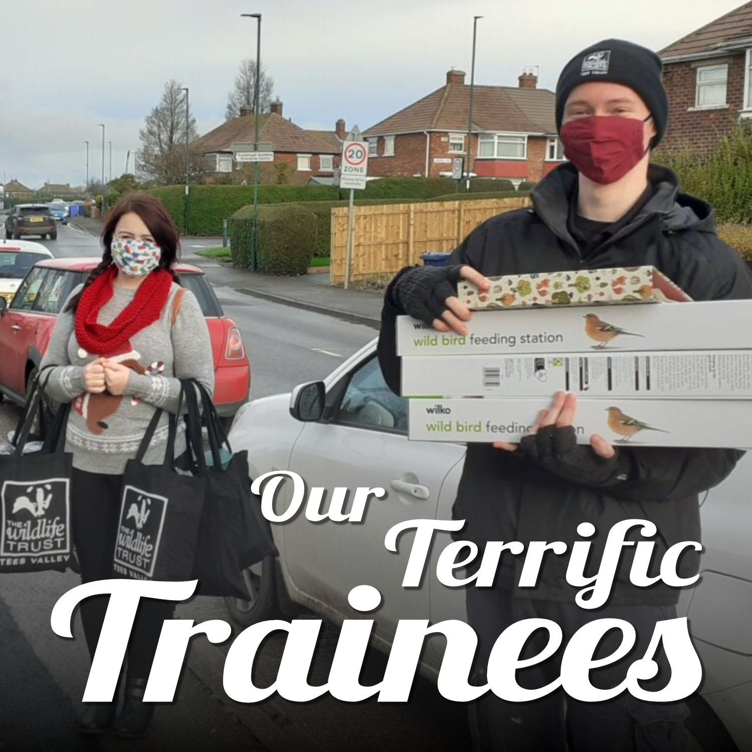 Photo of our trainees delivering Bird Buddies packs. Text reads 'Our Terrific Trainees'.